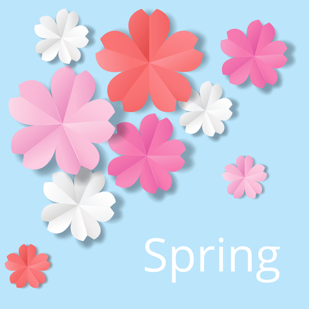 Paper flowers on blue background in origami stale Illustration