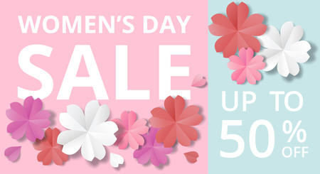 Womens Day sale horizontal web banner in origami style. Illustration