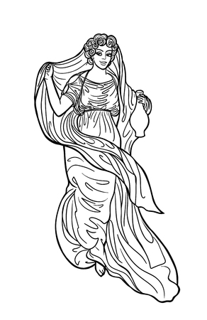 Greek woman with pitcher. Drawing in art nouveau style
