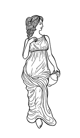 Greek woman with amphora. Drawing in art nouveau style Vettoriali