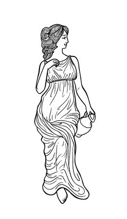 Griechische Frau mit Amphore . Zeichnung in Jugendstil Standard-Bild - 95305560