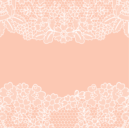 Orange background with white vintage lace borders