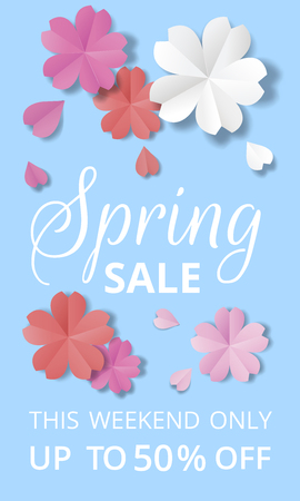 Spring sale banner. Paper flowers on blue background in origami stale