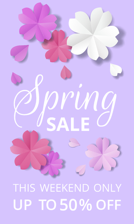 Spring sale banner. Paper flowers on purple background in origami stale