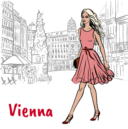 Woman with shopping bags in Vienna, Austria. Hand-drawn illustration. Fashion sketch