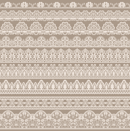 Horizontally seamless beige lace background with lace ribbons Vectores