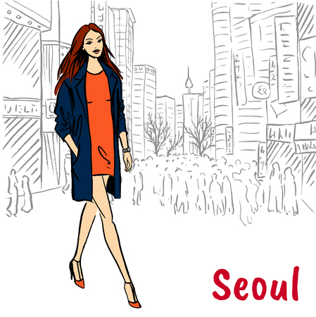 Hand-drawn sketch of woman at Myeongdong, Seoul, South Korea