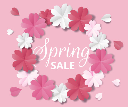 Spring sale banner. Paper flowers on pink background in origami stale.