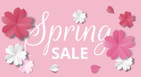 Spring sale horizontal web banner. Paper flowers on pink background in origami stale