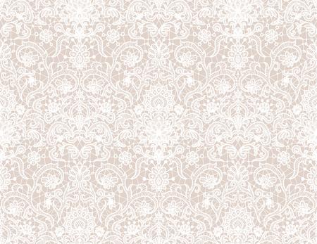 Bezszwowe białe tło koronki z kwiatowym wzorem