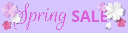 Spring sale horizontal web banner. Paper flowers on purple background in origami stale Illustration