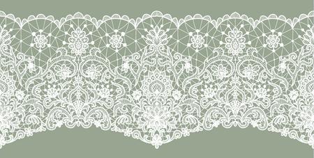Poziomo bezszwowe tło zielone koronki z kwiatowym wzorem Ilustracje wektorowe