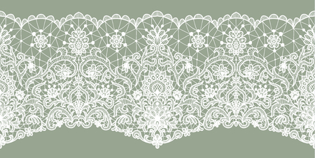 seamless fond de dentelle verte horizontalement avec motif floral Vecteurs
