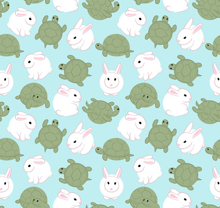 Cute white hare and tortoise. Seamless pattern Illustration