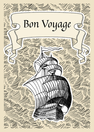 A vector illustration of a boat with quote bon voyager isolated on plain background Illustration