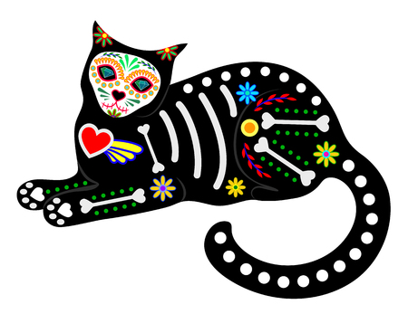 Calavera cat isolated on white Stock Illustratie