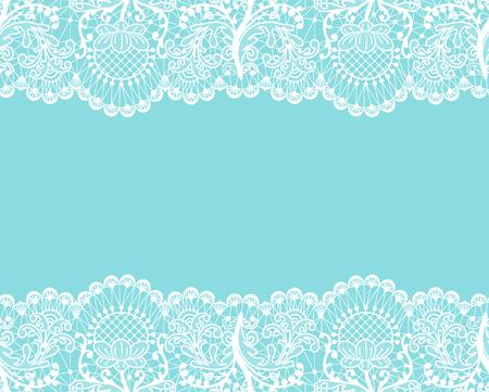 Horizontaal naadloze mint kant achtergrond met witte kanten randen
