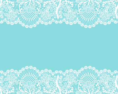 Horizontally seamless mint lace background with white lace borders