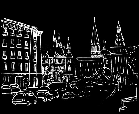 Hand-drawn sketch of Tverskaya street in Moscow, Russia Illustration
