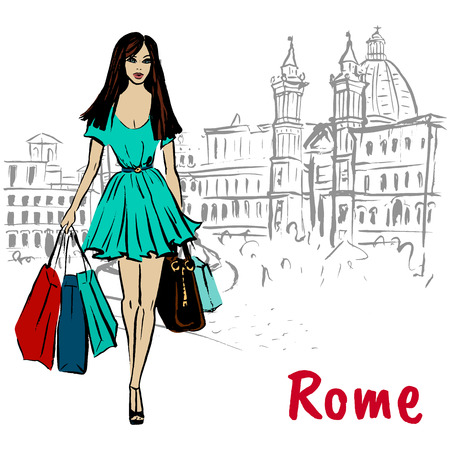 woman walking in Rome Illustration