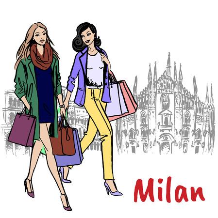 Schizzo disegnato a mano delle donne a Milano in Piazza del Duomo in Italia. Vettoriali