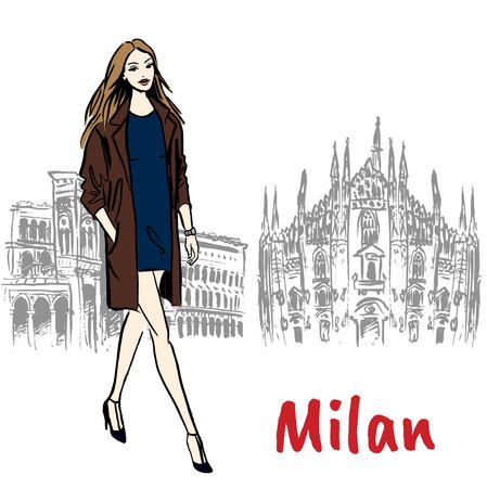 Boceto dibujado a mano de mujer en Milán en la Piazza del Duomo en Italia.