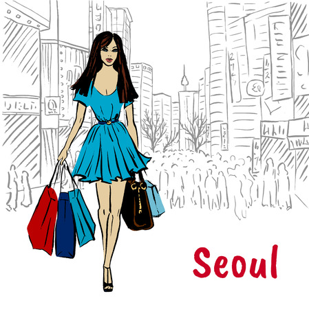 Woman with shopping bags in Seoul. Fashion sketch