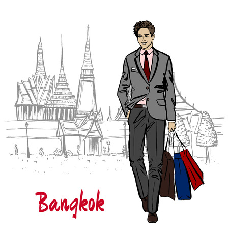 Hand-drawn sketch of man near Grand Palace and Wat Prakeaw, Old City of Bangkok, Thailand