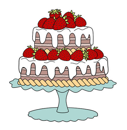 Chocolate cake with strawberries and cream on cake stand