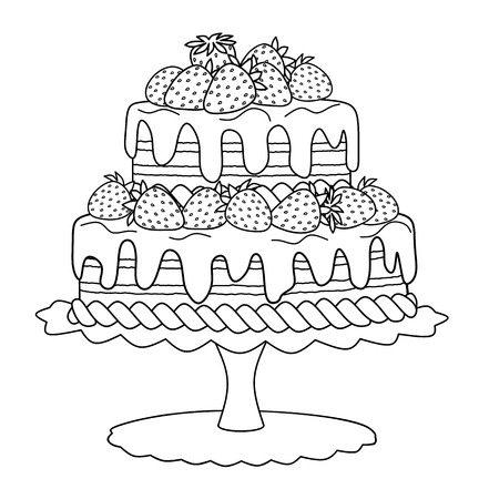 Chocolate cake with strawberries and cream for coloring book