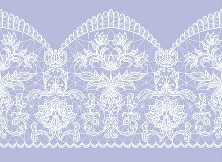 Horizontally seamless blue background and white lace ribbon with floral pattern