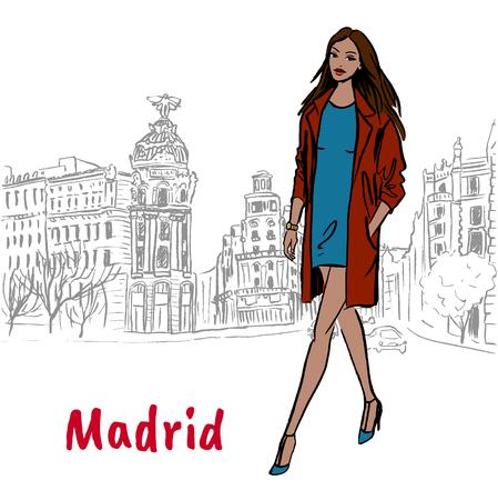 Woman walking in Madrid, Spain. Hand-drawn illustration. Fashion sketch Illustration