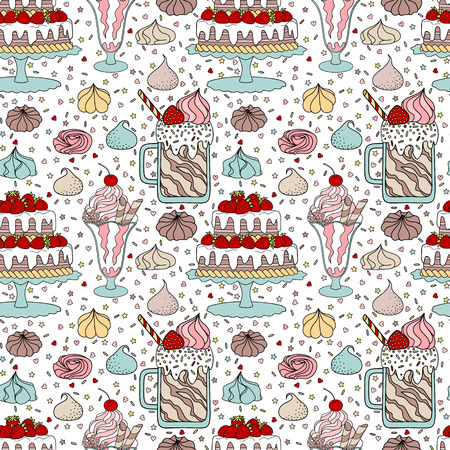 Seamless pattern with cake, ice cream, milk cocktail and meringues Illustration