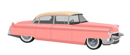 Retro car in 50s style. Illustration isolated on white Ilustración de vector