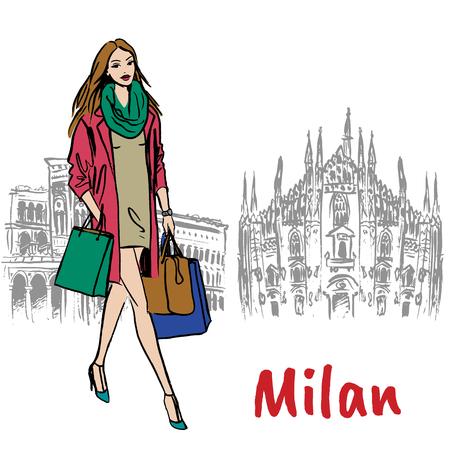 mujer en milán