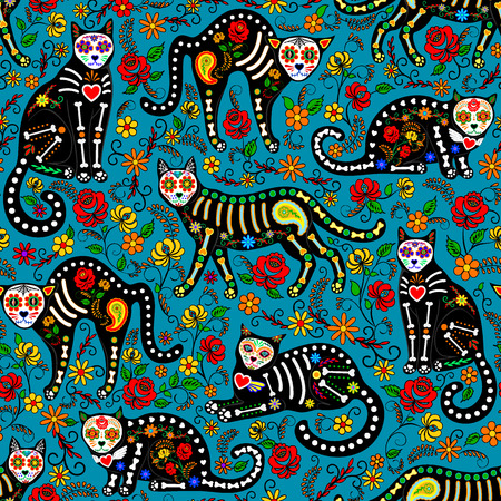 Seamless pattern with calavera sugar skull black cats in mexican style for holiday the Day of the Dead, Dia de Muertos Stock Illustratie