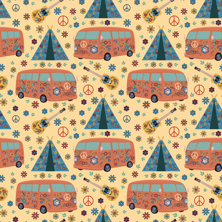 Hippie van, guitar and tipi. Seamless pattern 矢量图像
