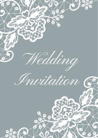 Wedding invitation template with white lace border on gray background Vektorové ilustrace