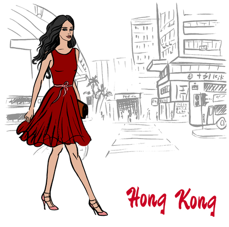 Hand-drawn sketch of women friends on Hong Kong street in China