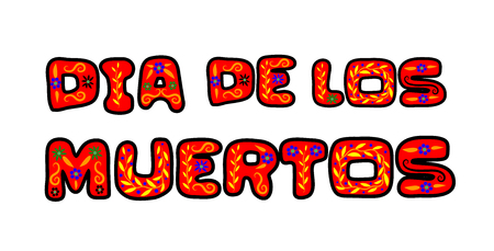Dia de los Muertos (Day of the Dead) lettering isolated on white