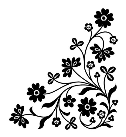 Floral decorative corner ornament isolated on white