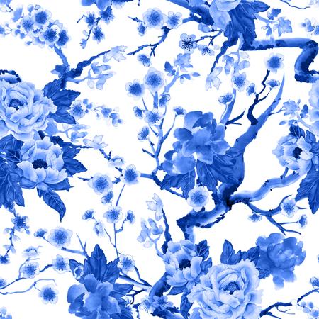 Sakura and peony flowers