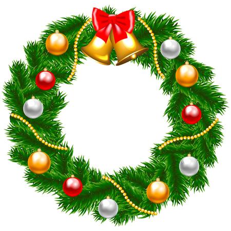 Palline di Natale e stelle filanti serpentine dorate. Biglietto natalizio