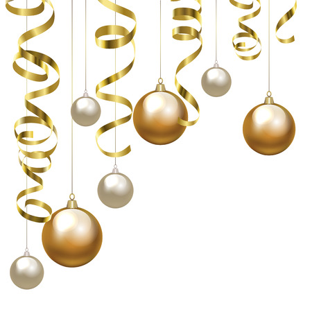 Christmas baubles and golden serpentine streamers. Christmas decoration clip art.