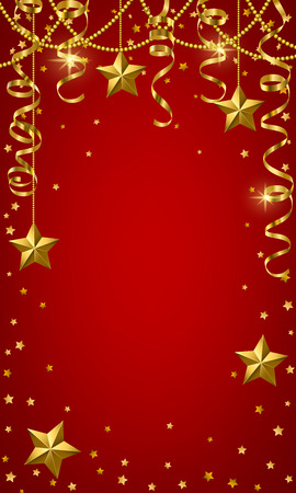 Christmas baubles and golden serpentine streamers. Christmas card Vector Illustratie