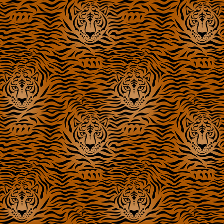 Tiger animal print with stripes and tiger 向量圖像