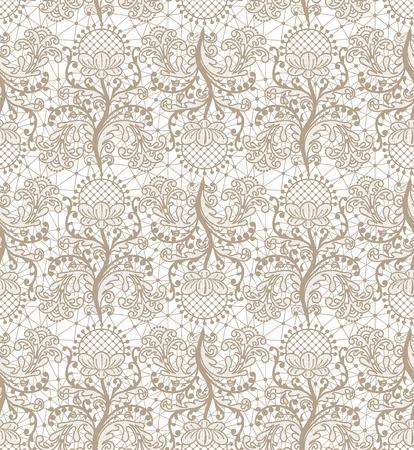 Naadloze beige kantachtergrond met bloemenpatroon Vector Illustratie
