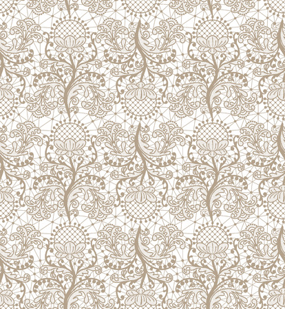 Seamless beige lace background with floral pattern Vetores