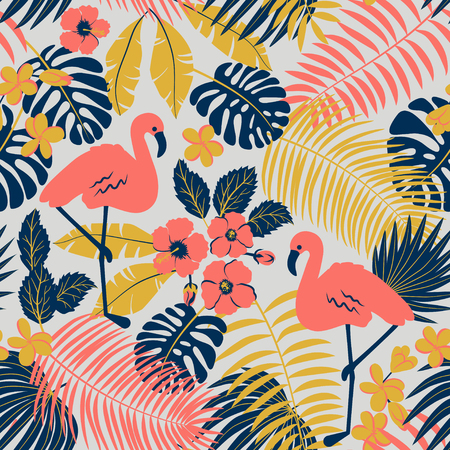 Tropic seamless pattern with flamingo, palms and flowers Векторная Иллюстрация