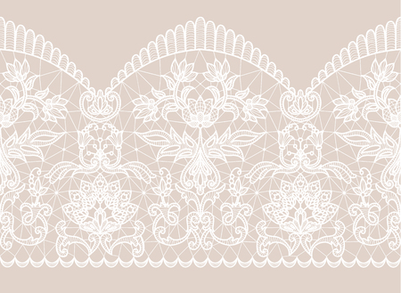 Fondo beige horizontalmente transparente y cinta de encaje blanco con estampado floral
